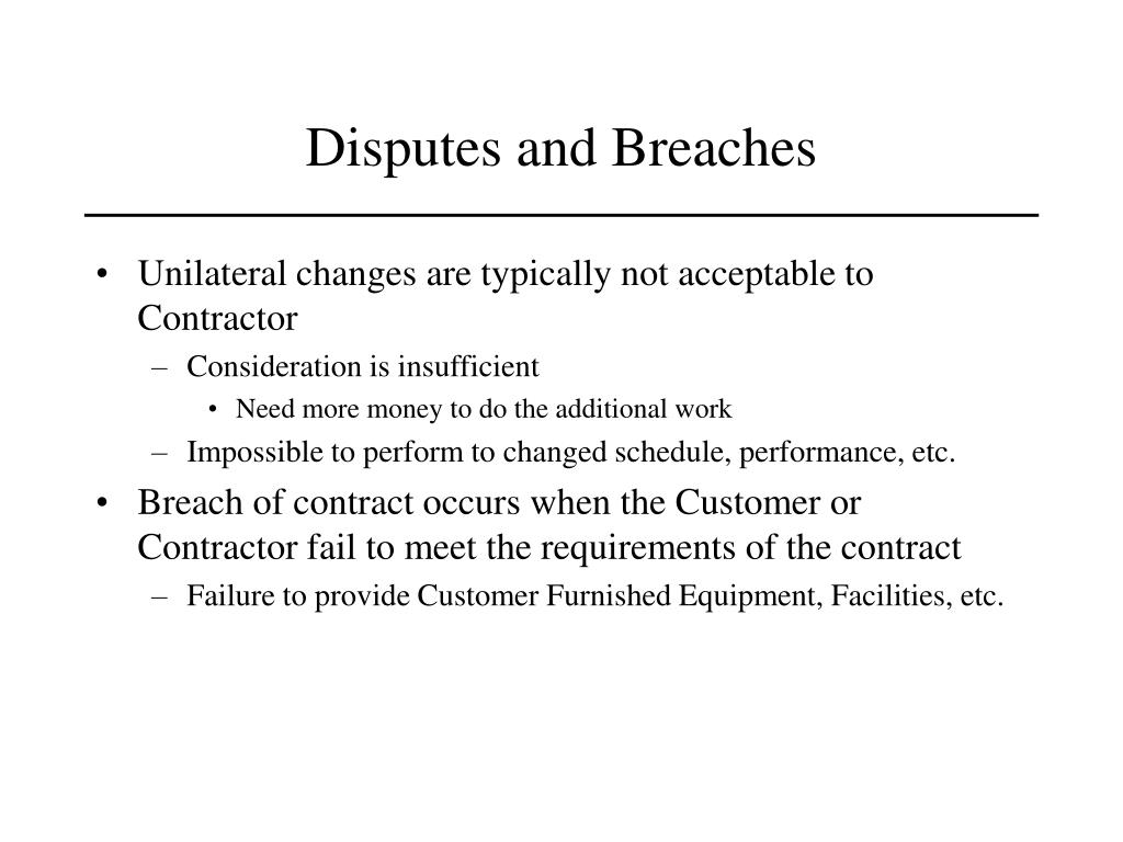 Disputes and Breaches