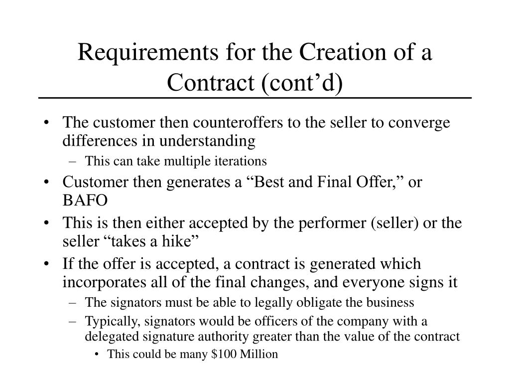 Requirements for the Creation of a Contract (cont'd)
