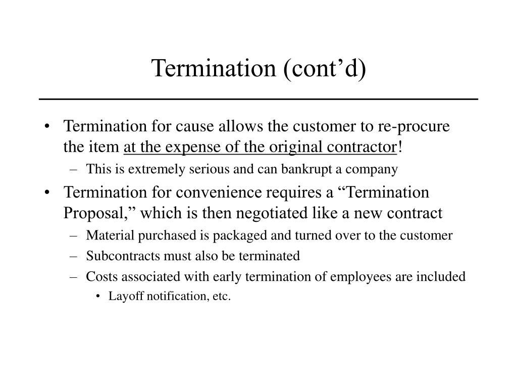 Termination (cont'd)