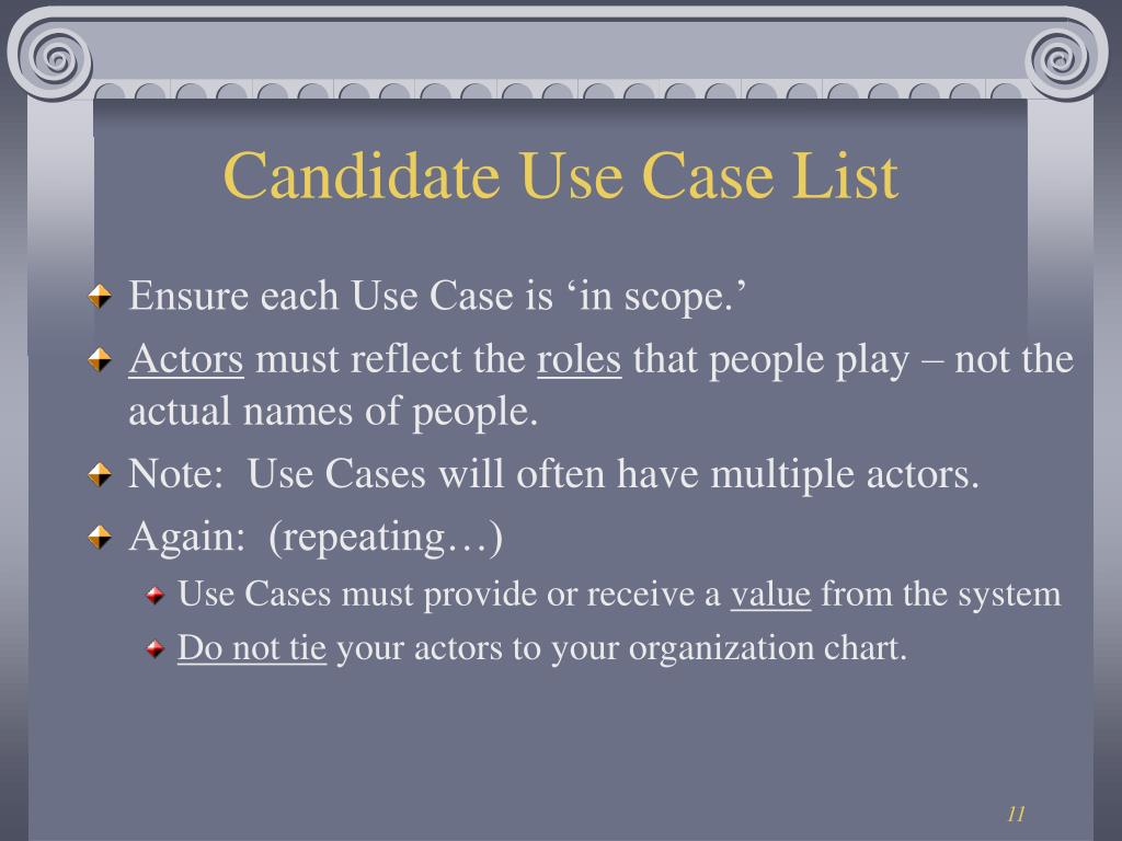 Candidate Use Case List
