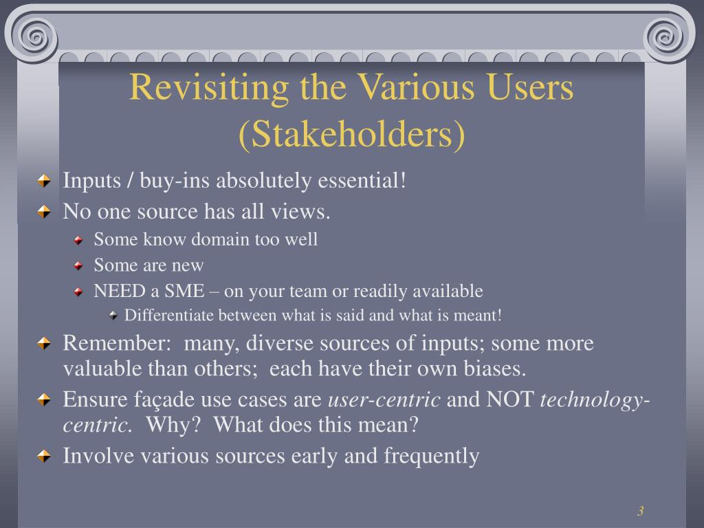 Revisiting the Various Users (Stakeholders)