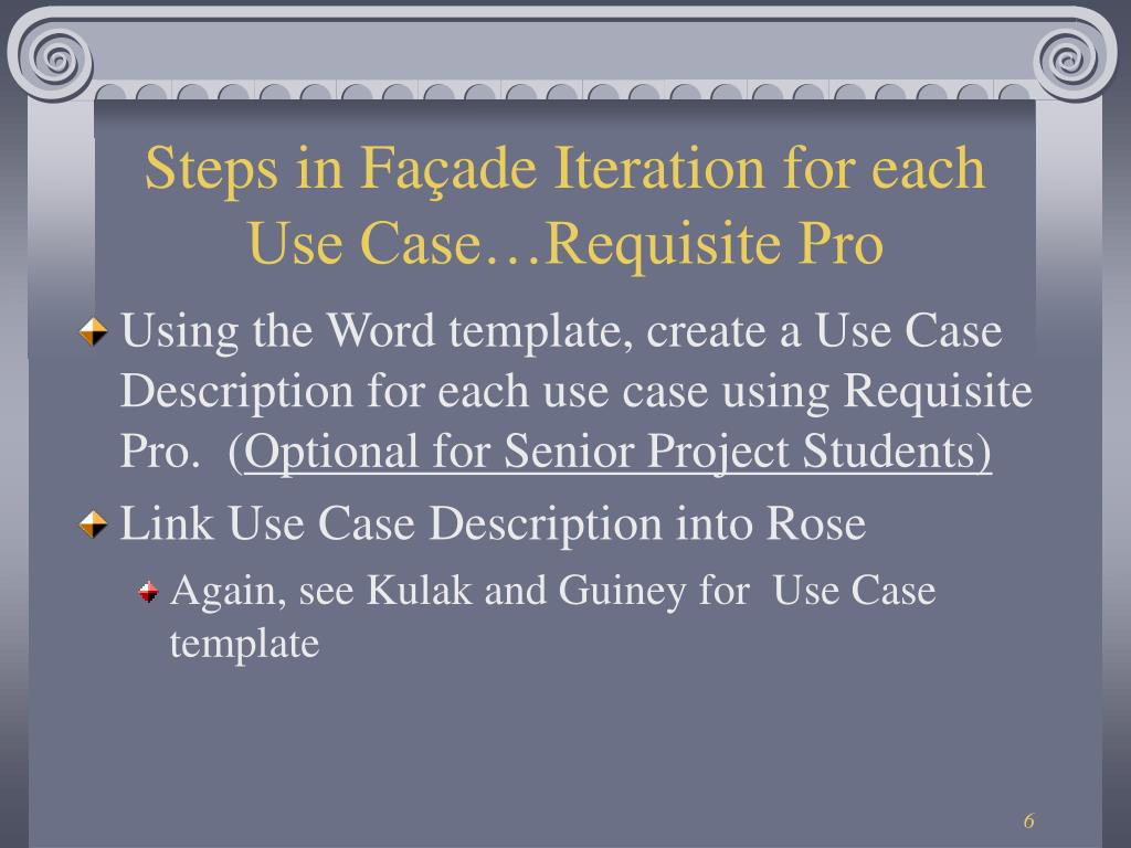 Steps in Façade Iteration for each Use Case…Requisite Pro