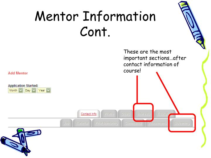 Mentor Information Cont.