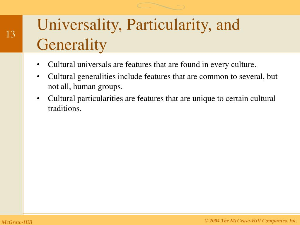 Universality, Particularity, and Generality