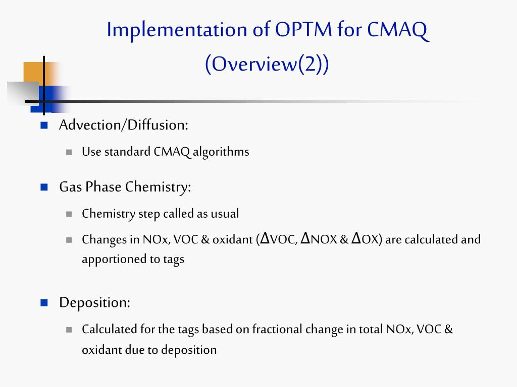 Implementation of OPTM for CMAQ (Overview(2))