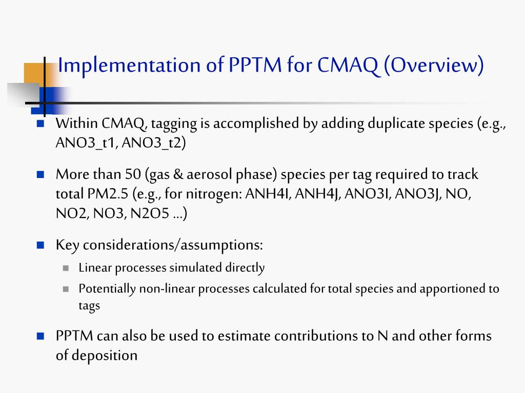 Implementation of PPTM for CMAQ (Overview)