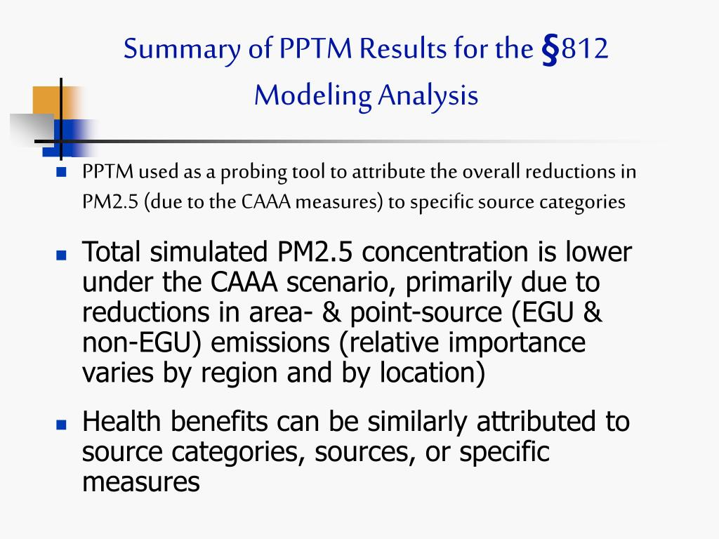 Summary of PPTM Results for the
