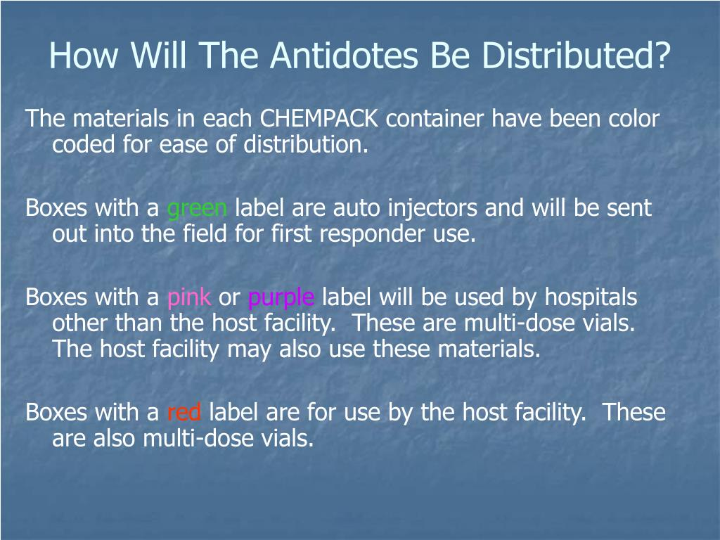 How Will The Antidotes Be Distributed?