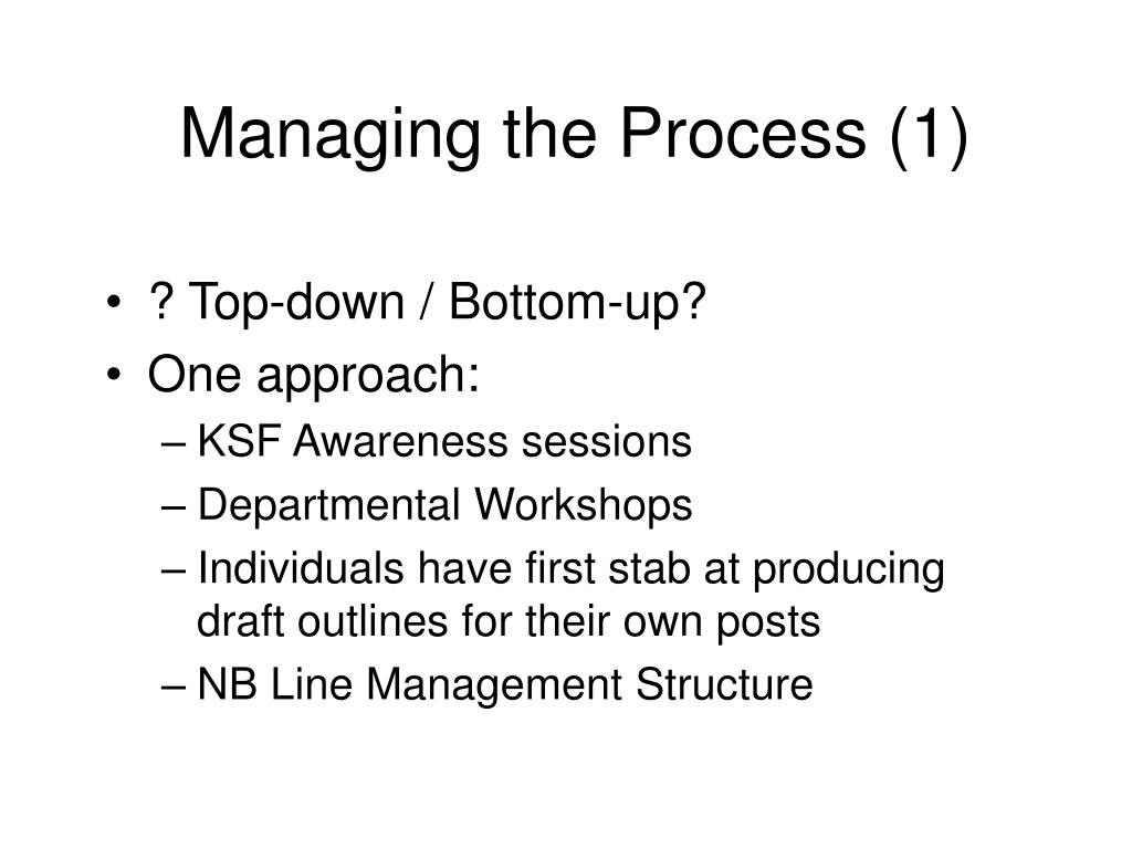 Managing the Process (1)