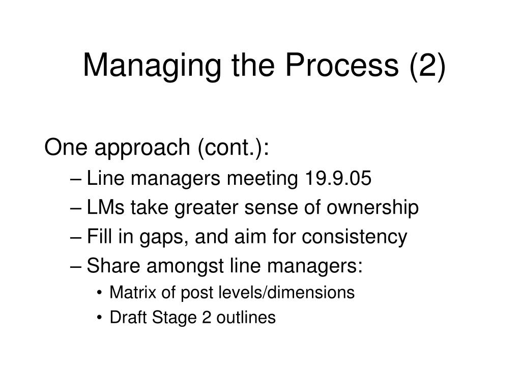 Managing the Process (2)