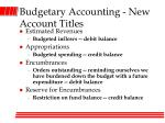 budgetary accounting new account titles