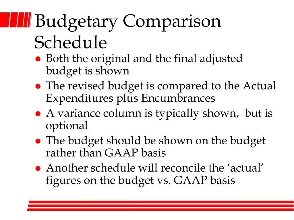 Budgetary Comparison Schedule