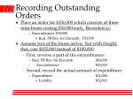 recording outstanding orders