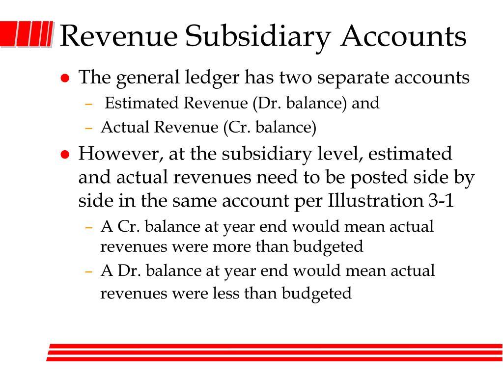 Revenue Subsidiary Accounts