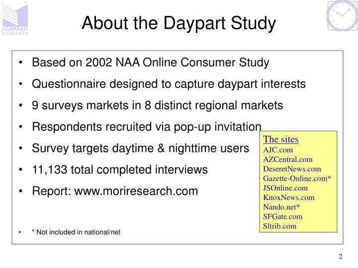 About the daypart study