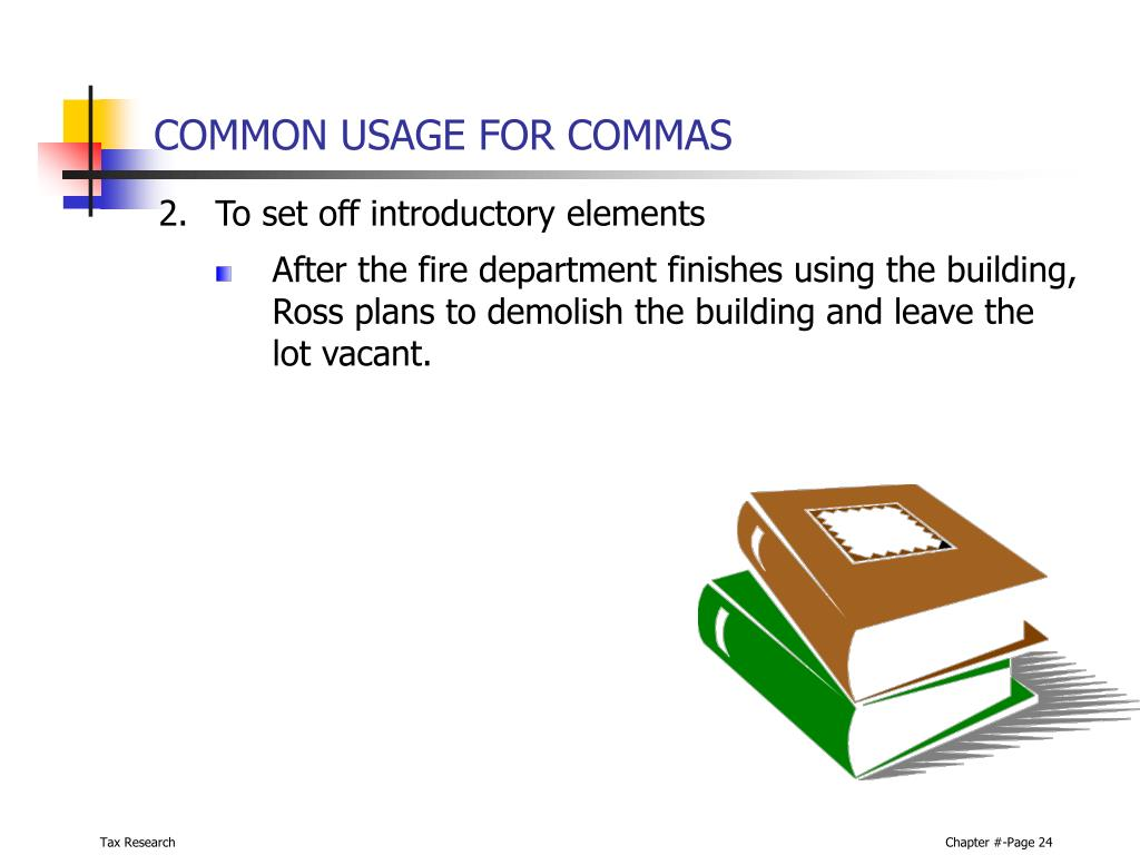 COMMON USAGE FOR COMMAS
