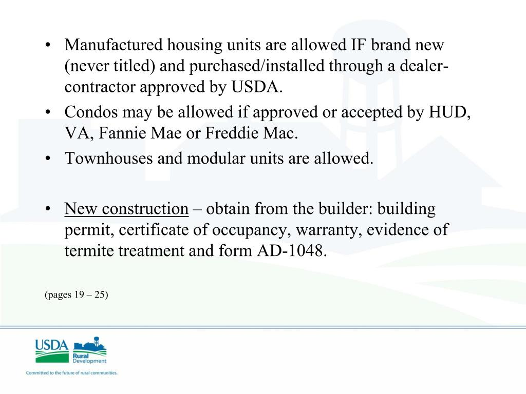 Ppt usda guaranteed rural housing grh loans powerpoint for Usda approved builders