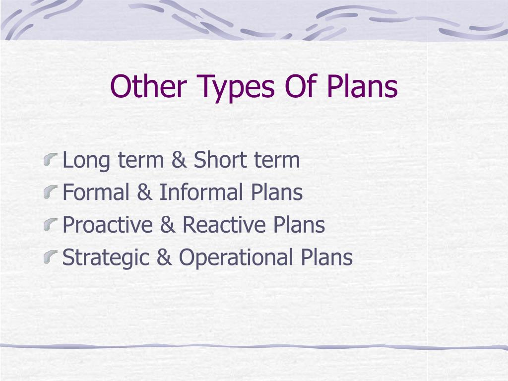 Other Types Of Plans
