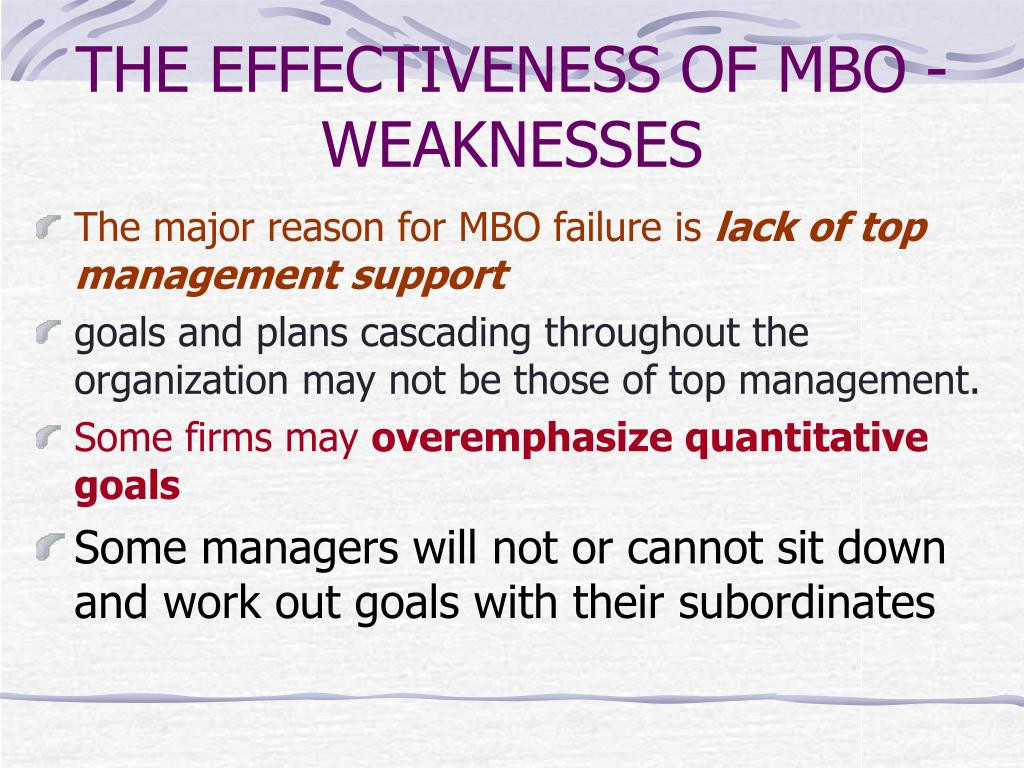 THE EFFECTIVENESS OF MBO - WEAKNESSES