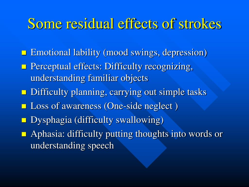 Some residual effects of strokes