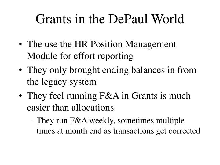 Grants in the DePaul World