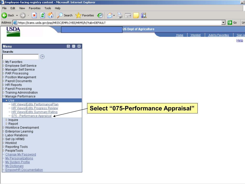 "Select ""075-Performance Appraisal"""