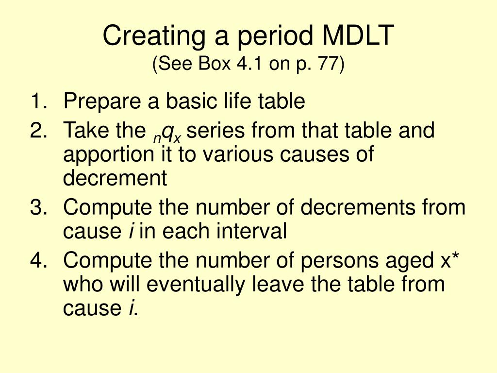 Creating a period MDLT