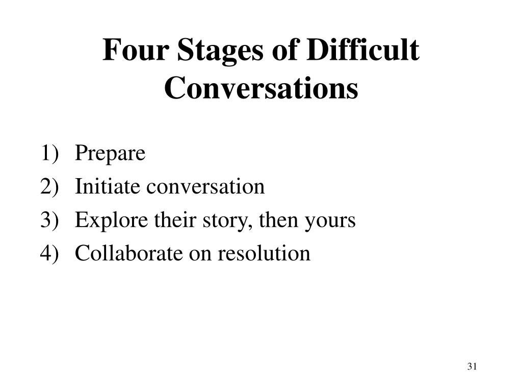 Four Stages of Difficult Conversations