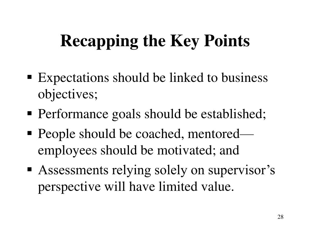 Recapping the Key Points