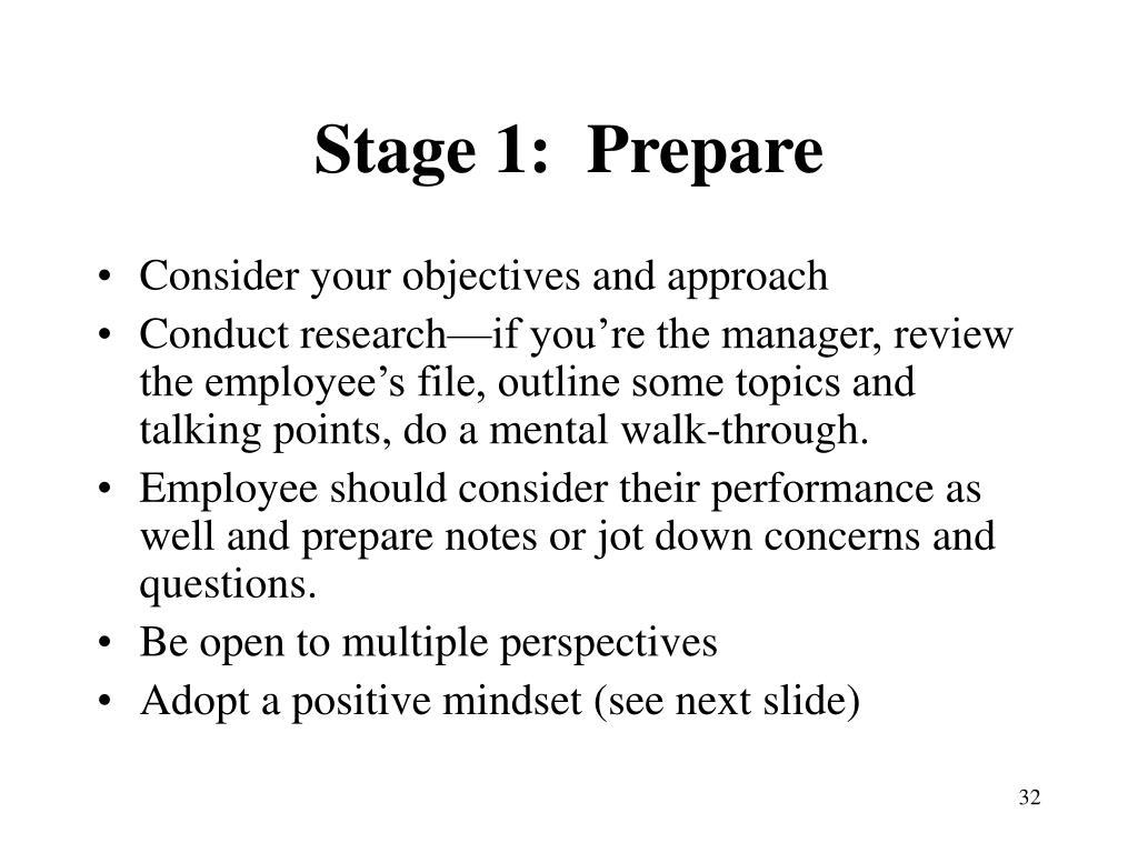 Stage 1:  Prepare