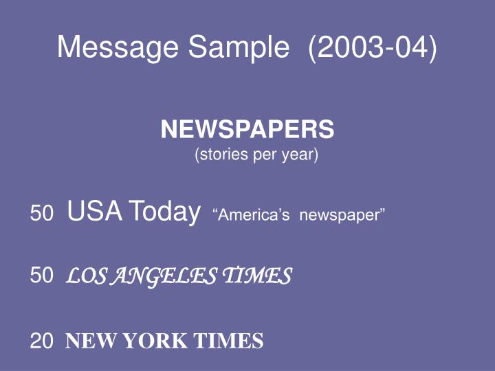 Message Sample  (2003-04)