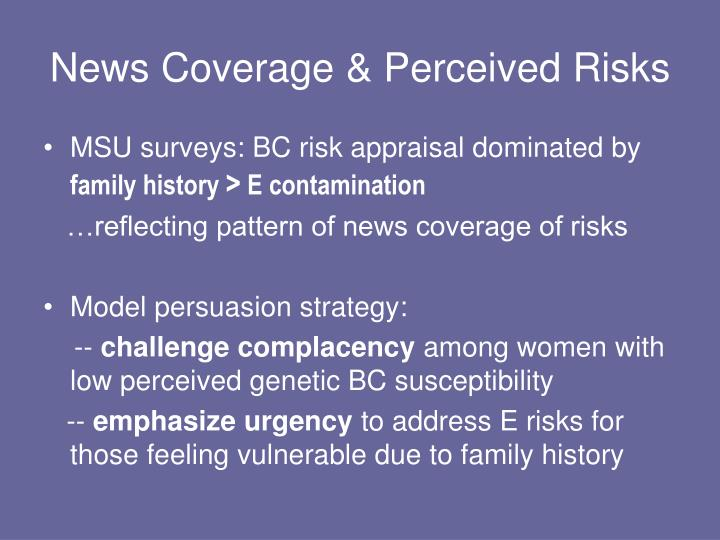 News Coverage & Perceived Risks