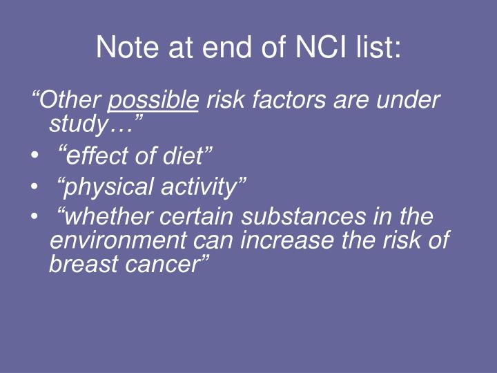 Note at end of NCI list: