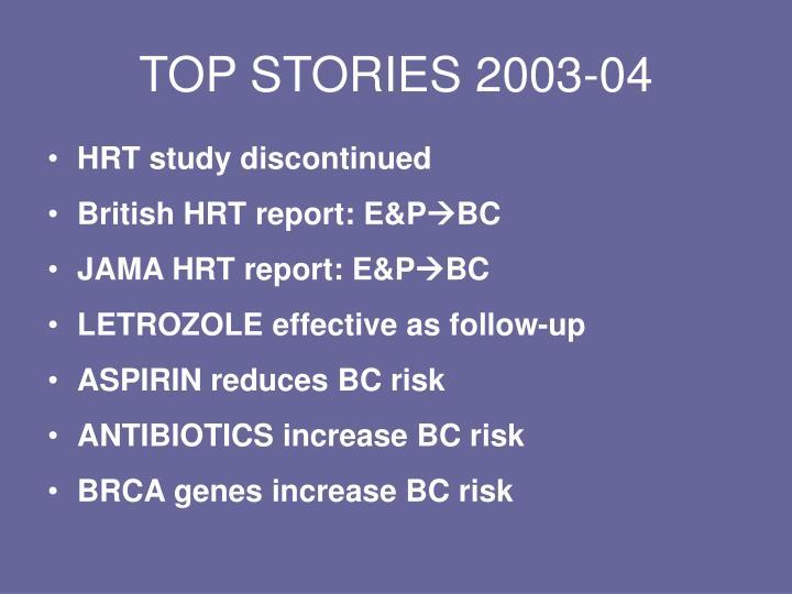 TOP STORIES 2003-04