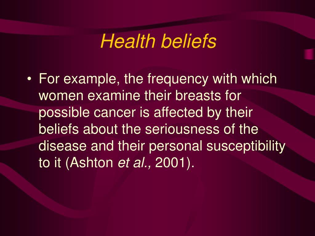 Health beliefs