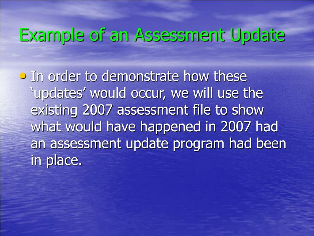 Example of an Assessment Update