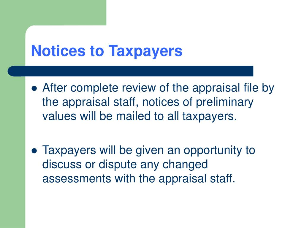 Notices to Taxpayers