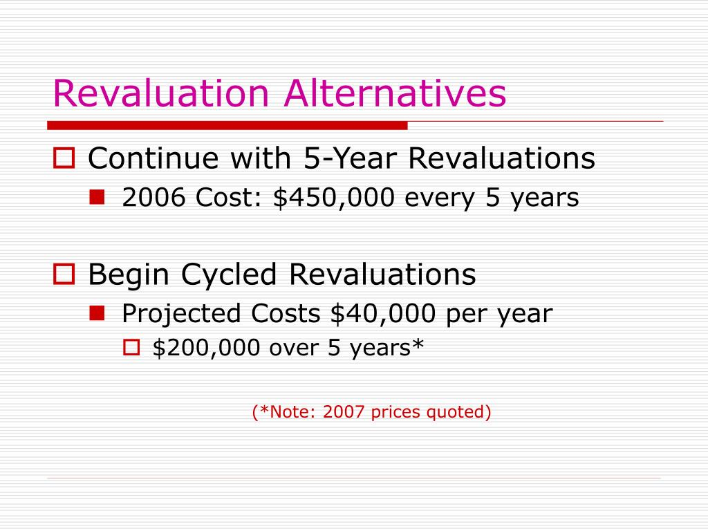 Revaluation Alternatives