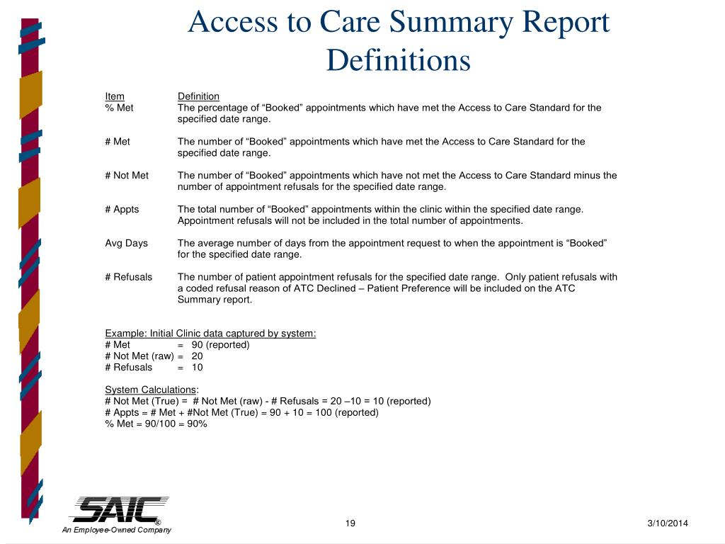 Access to Care Summary Report