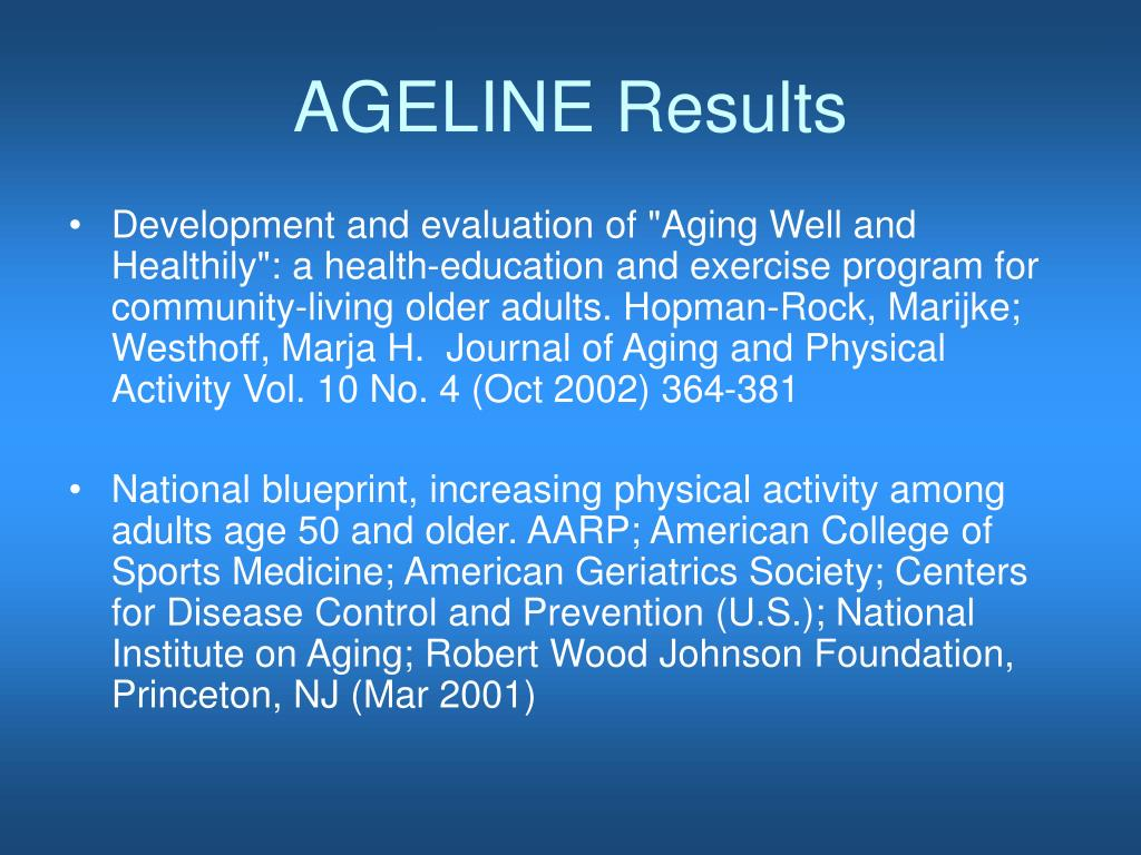 AGELINE Results