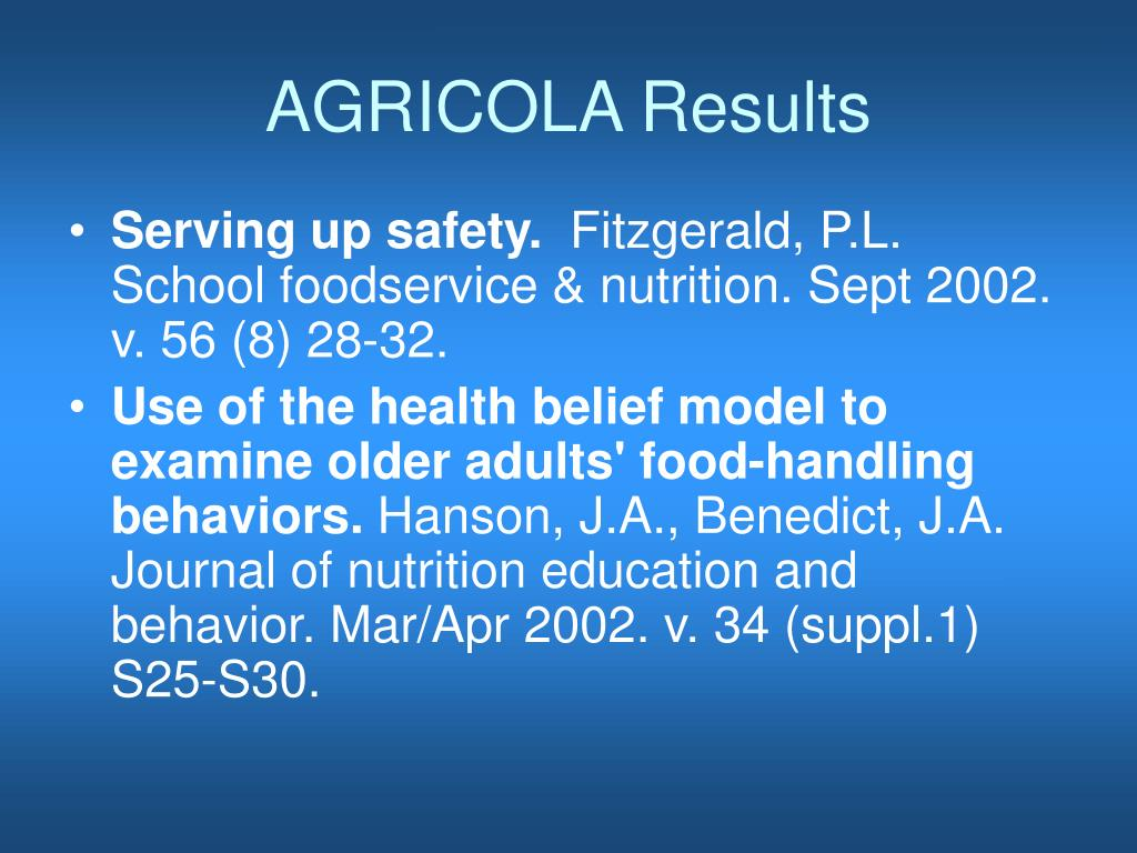 AGRICOLA Results