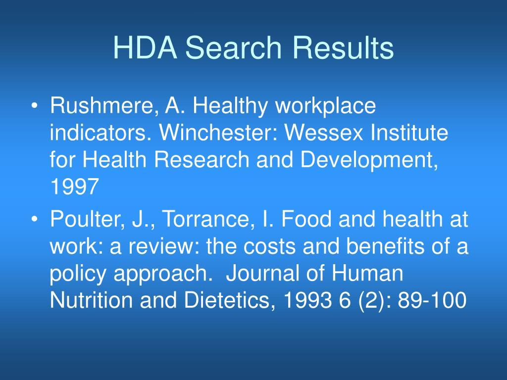 HDA Search Results