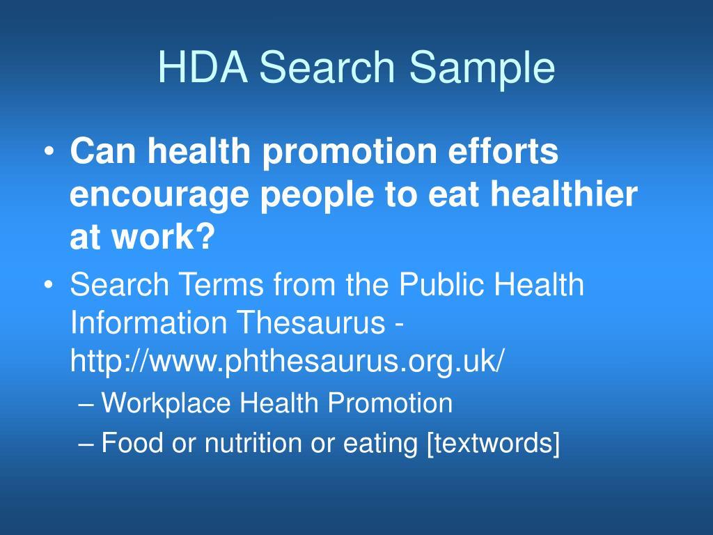 HDA Search Sample