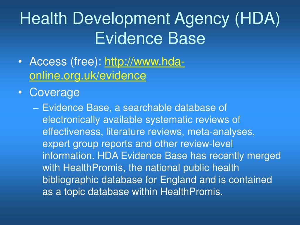 Health Development Agency (HDA) Evidence Base