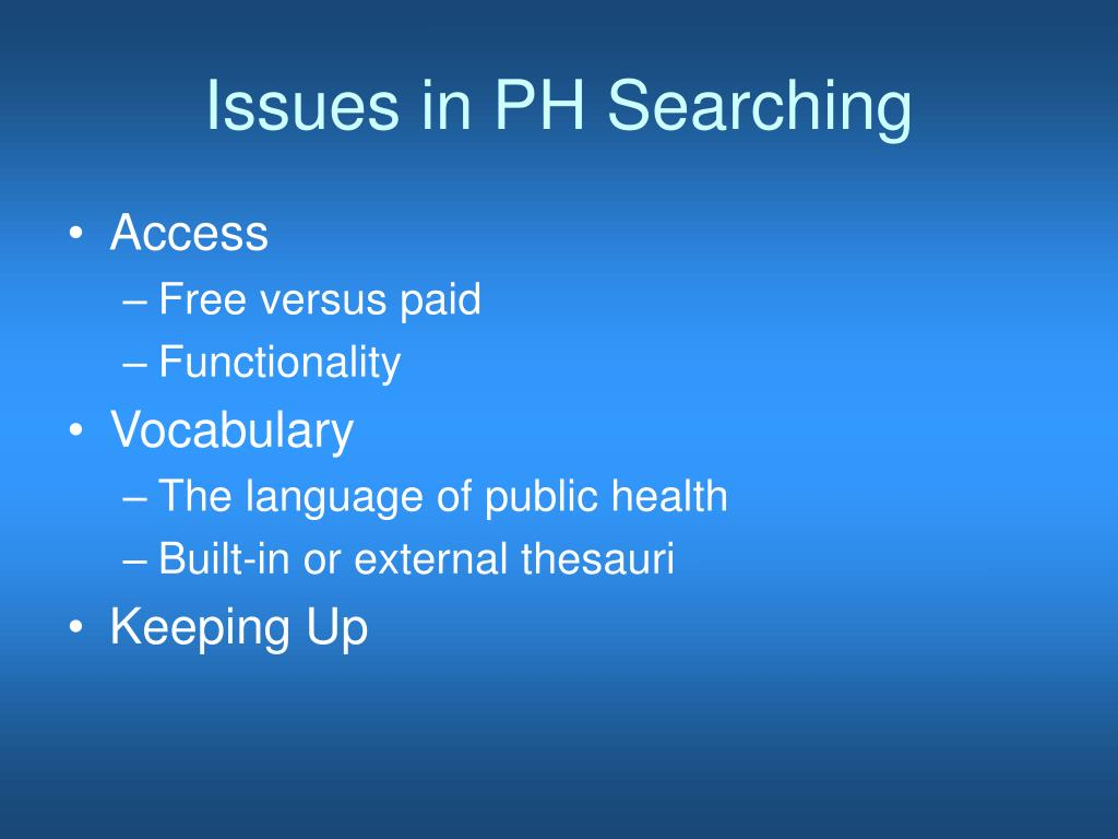 Issues in PH Searching