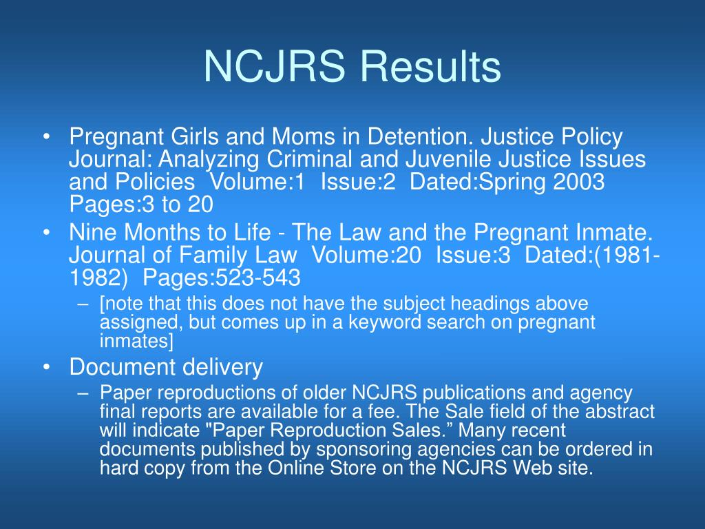 NCJRS Results