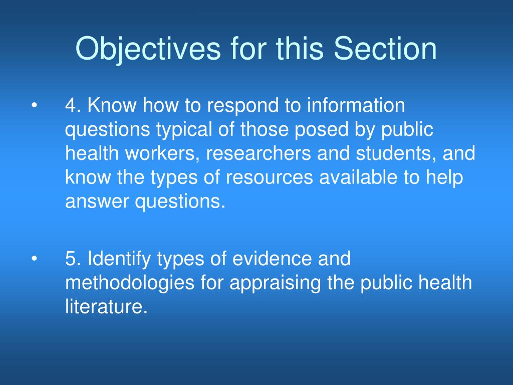 Objectives for this Section