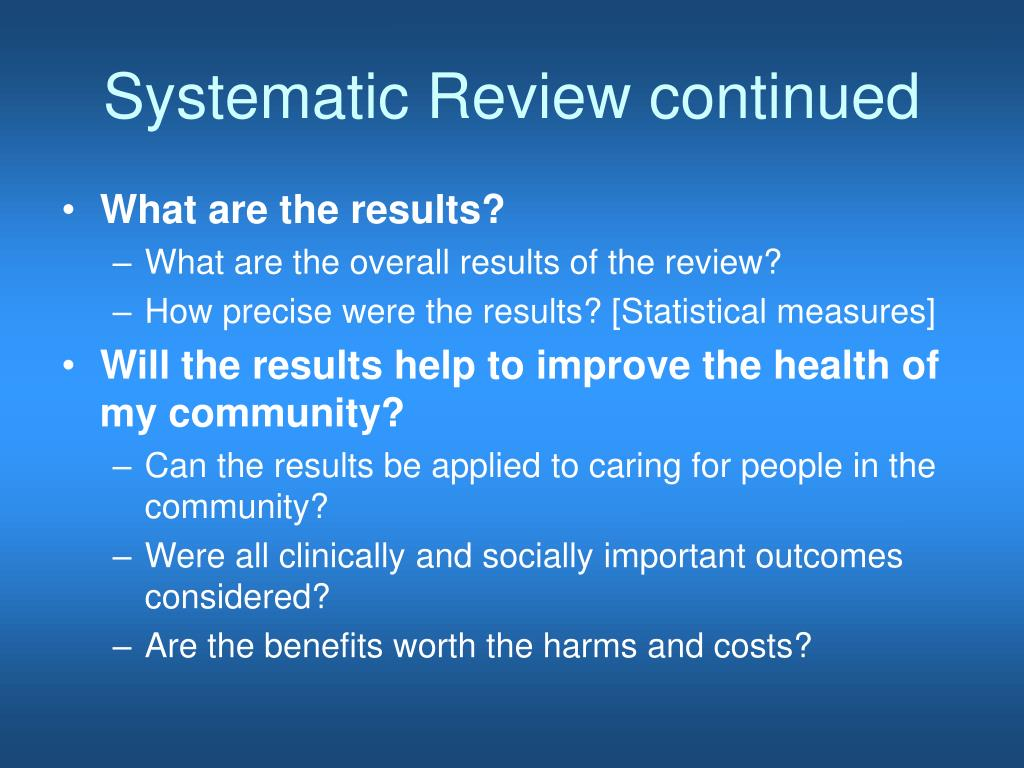 Systematic Review continued