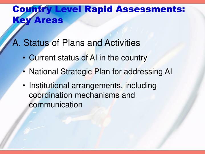 Country level rapid assessments key areas