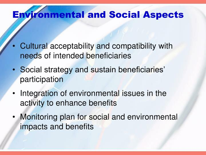Environmental and Social Aspects